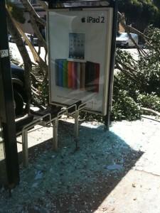 bus shelter destroyed