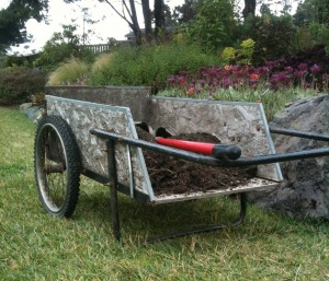 garden cart with soil
