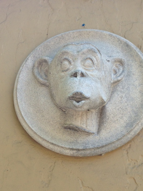 monkey outdoor wall plaque