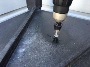 step drill bit into metal pot