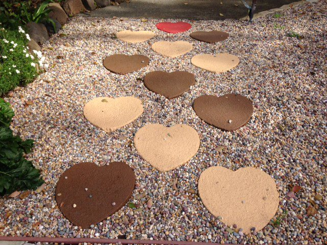 painted garden heart pavers