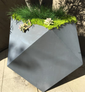 Origami planter with geometric design