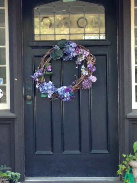 wreath lightly decorated with hydrangea flowers