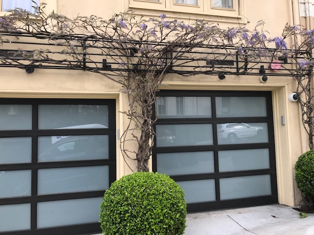 Wisteria with metal support detail above garage. San Francisco, CA